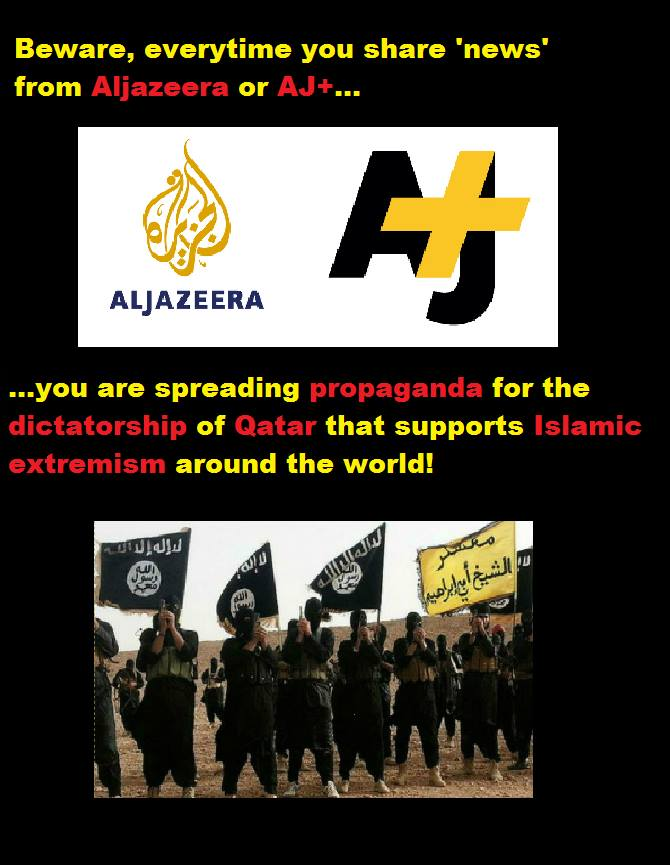 Aljazeera and AJ+ are directly led by the Qatari Sharia-based government