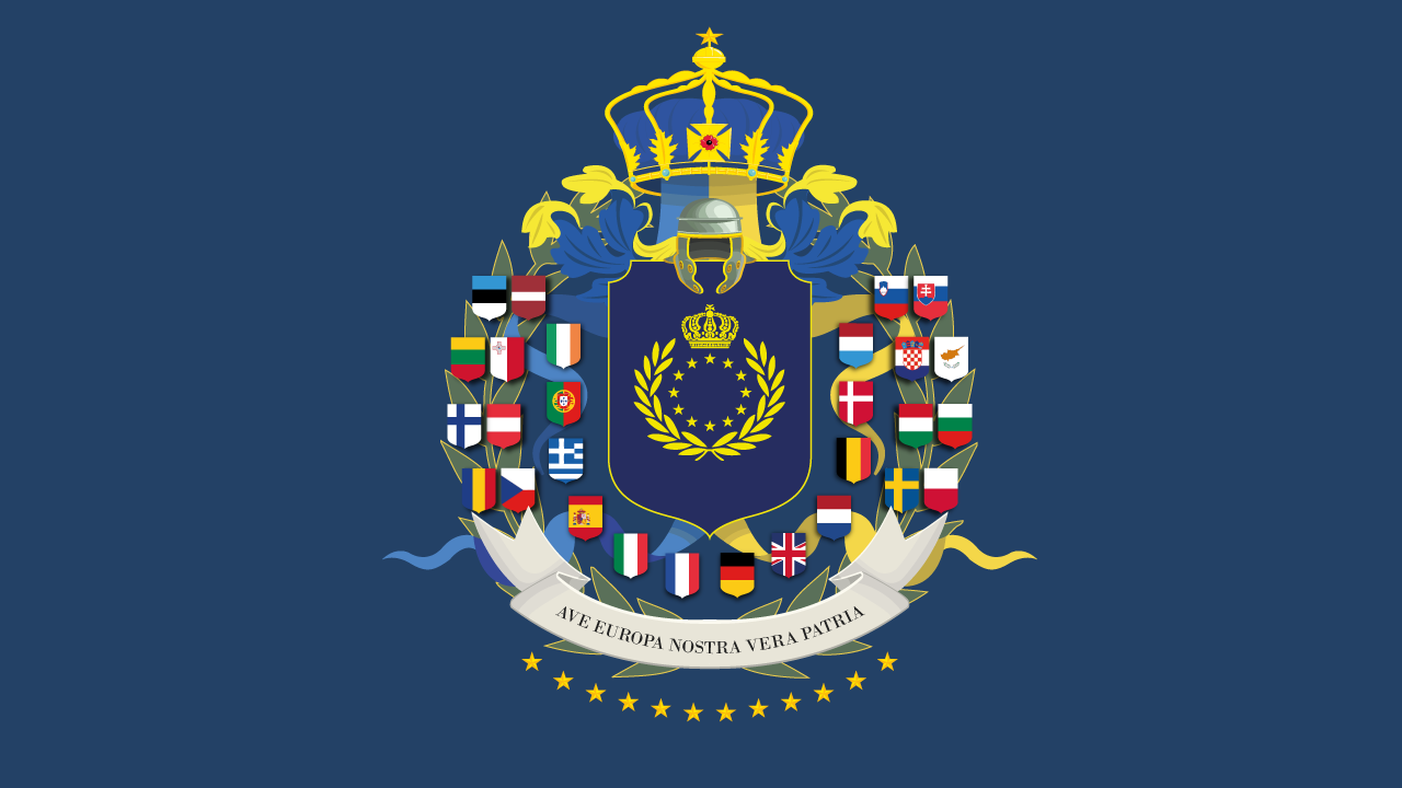 The 28 national flags of the member states surroudn the a heraldic shield emblazoned with the Greater Twelve Stars of a United Europe
